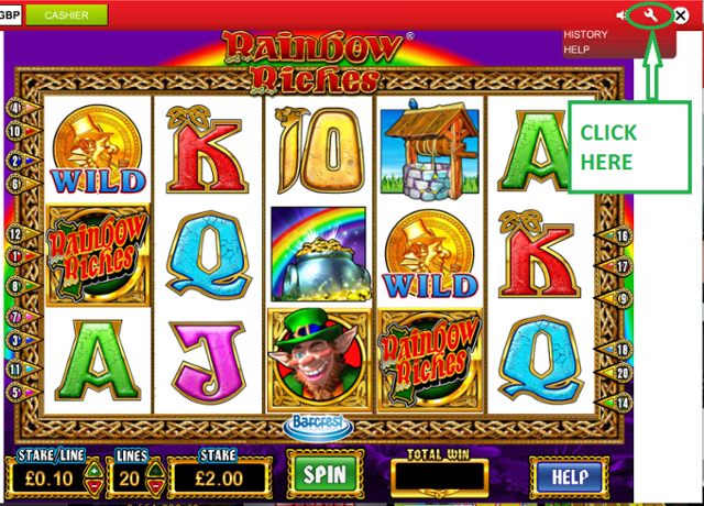 Rainbow Riches return to player eg