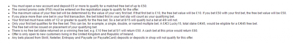 Free bets T&Cs example
