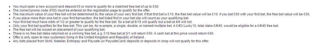 Free bets T&Cs example