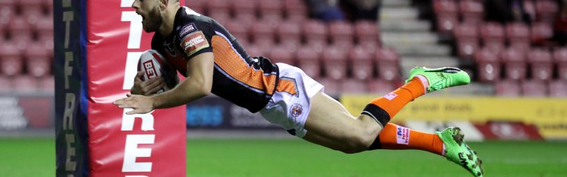 Castleford Tigers' Luke Gale goes over for a try during the Betfred Super League match at The DW Stadium, Wigan.