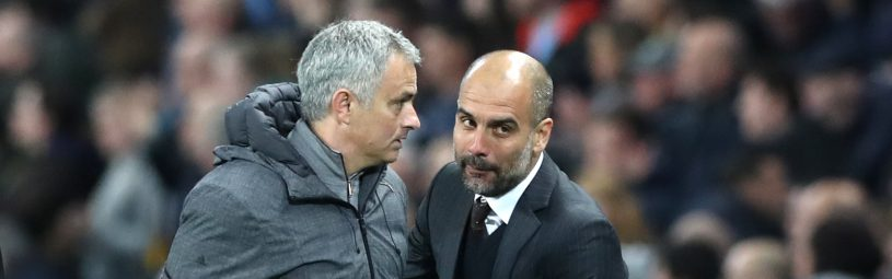 Manchester United manager Jose Mourinho (left) and Manchester City manager Pep Guardiola after the Premier League match at the Etihad Stadium, Manchester.