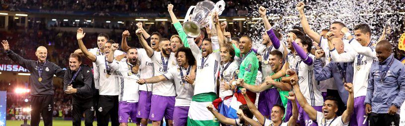 Real Madrid's Sergio Ramos celebrates with the trophy during the UEFA Champions League Final at the National Stadium, Cardiff.