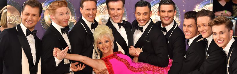 Debbie McGee, Pasha Kovalev, Neil Jones, Brendan Cole, Anton du Beke, Giovanni Pernice, Aljaz Skorjanec, Gorka Marquez, Kevin Clifton and AJ Pritchard at the launch of Strictly Come Dancing 2017 at Broadcasting House in London.