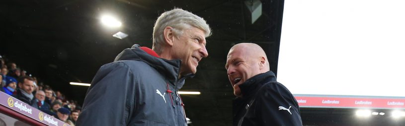 26 November 2017 -  Premier League - Burnley v Arsenal - Sean Dyche manager of Burnley greets Arsene Wenger manager of Arsenal - Photo: Marc Atkins/Offside
