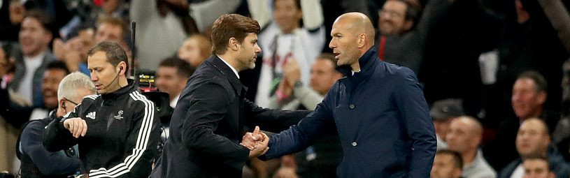 Tottenham Hotspur manager Mauricio Pochettino (left) and Real Madrid manager Zinedine Zidane (right) shakes hands during the UEFA Champions League, Group H match at Wembley Stadium, London.