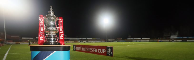 The Emirates FA Cup trophy on display before the Emirates FA Cup, First Round match at the Merseyrail Community Stadium, Southport.