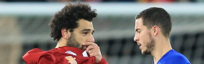 Mohamed Salah of Liverpool speaks with Eden Hazard of Chelsea
