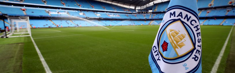 Manchester City club badge on the corner flag before the Premier League match at the Etihad Stadium, Manchester.