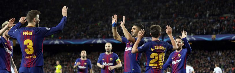 April 4, 2018 - Barcelona, Spain - GERARD PIQUE of FC Barcelona celebrates after scoring his side's third goal during the UEFA Champions League, quarter final, 1st leg football match between FC Barcelona and AS Roma on April 4, 2018 at Camp Nou stadium in Barcelona, Spain (Credit Image: © Manuel Blondeau via ZUMA Wire)