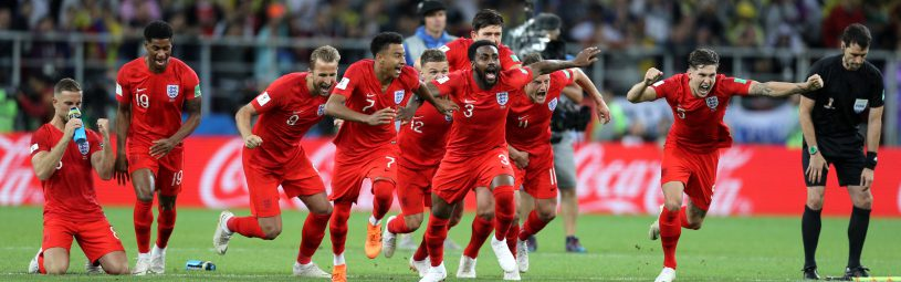 England celebrate winning the penalty shootout during the FIFA World Cup 2018, round of 16 match at the Spartak Stadium, Moscow.