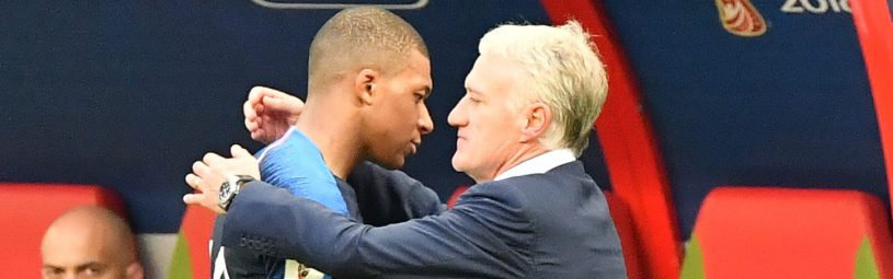France's Kylian Mbappe is congratulated by head coach Didier Deschamps during the FIFA World Cup France v Argentina at the Kazan Arena stadium in Kazan, Russia on June 30, 2018. Teenage star Kylian Mbappe struck twice and earned another goal as France defeated Argentina 4-3 and move into the quarter-finals .Photo by Christian Liewig/ABACAPRESS.COM