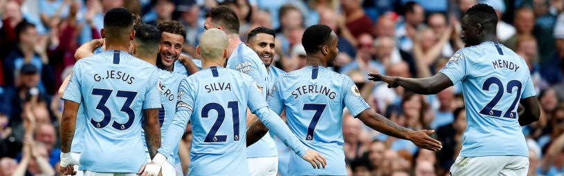Manchester City's Kyle Walker (third left) celebrates scoring his side's second goal of the game during the Premier League match at the Etihad Stadium, Manchester.