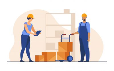 Storehouse workers keeping records of boxes. Warehouse employees in helmets with packages flat vector illustration. Logistics, shipment concept for banner, website design or landing web page