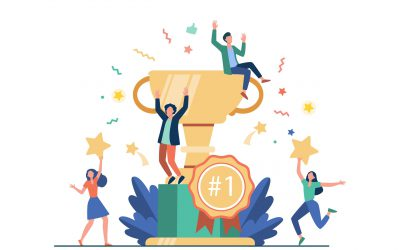 Team of happy employees winning award and celebrating success. Business people enjoying victory, getting gold cup trophy. Vector illustration for reward, prize, champions concepts