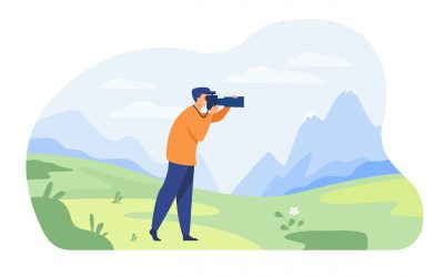 Happy travel photographer taking picture of nature isolated flat vector illustration. Cartoon character shooting mountains on camera. Photography and landscape concept